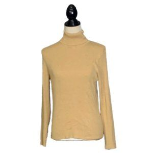 Chico's Ribbed Tan Turtleneck Soft Rayon Sz 2 / M